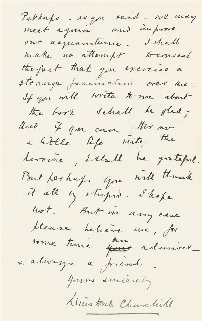 CHURCHILL, Winston S Autograph letter signed ('Winston S Chu...